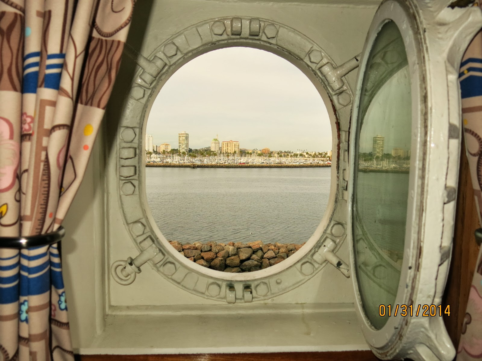 This porthole was on the sister ship to the Queen Elizabeth, the RMS Queen Mary.
