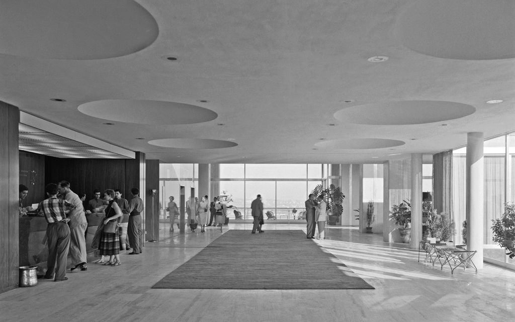 Front Desk/Lobby of Istanbul Hilton in 1955.