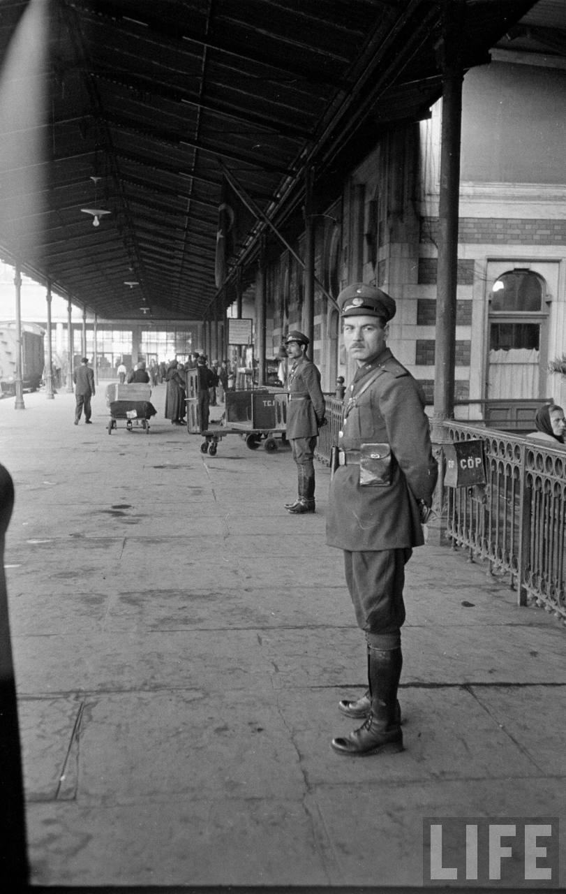 Officers on Sirkeci platform, 1950. Jack Kirns, LIFE magazine.
